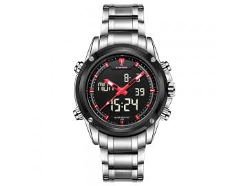 Relógio NaviForce NF9050 -Prata e Vermelho