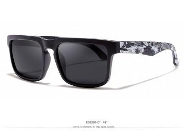 Óculos de Sol KDEAM - Preto Branco e Cinza Lentes Preta