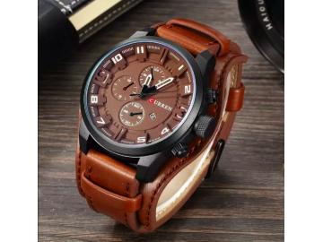Relógio Curren 8225 Social Luxo Esportivo Top Couro Promoção - Marrom