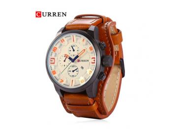 Relógio Curren 8225 Social Luxo Esportivo Top Couro Promoção - Branco