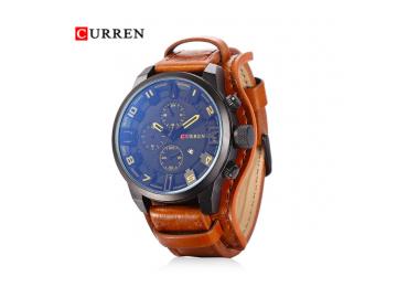 Relógio Curren 8225 Social Luxo Esportivo Top Couro Promoção - Amarelo