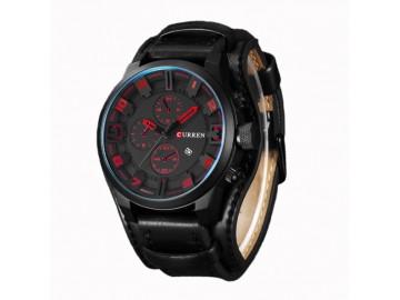 Relógio Curren 8225 Social Luxo Esportivo Top Couro Promoção - Vermelho