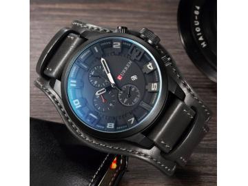 Relógio Curren 8225 Social Luxo Esportivo Top Couro Promoção - Preto