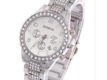 Relógio Feminino De Pulso Analógico Geneva com Strass - Prata