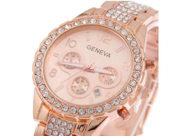 Relógio Feminino De Pulso Analógico Geneva com Strass - Rosê