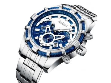 BIDEN 0117 - Relógio de Luxo de Pulseira de Aço Inoxidável Impermeável - Azul