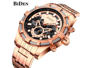 BIDEN 0117 - Relógio de Luxo de Pulseira de Aço Inoxidável Impermeável - Dourado