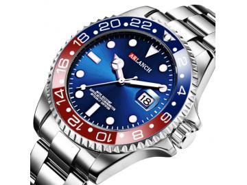 Relógio Casual Aço Inox Submariner 305 - Vermelho e Azul