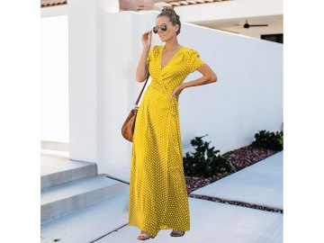 Vestido Longo Poá - Amarelo