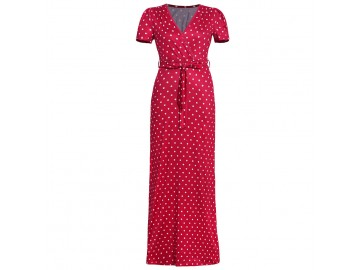 Vestido Longo Poá - Vermelho