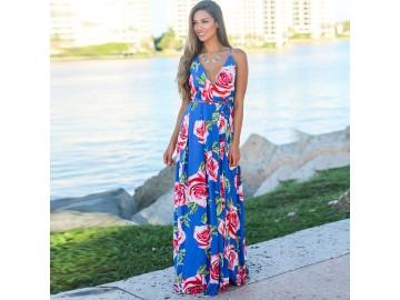 Vestido Longo Floral - Azul