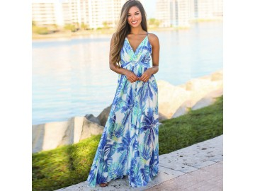 Vestido Longo Floral - Azul Claro