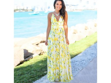 Vestido Longo Floral - Amarelo
