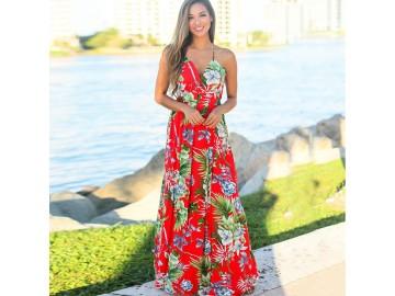 Vestido Longo Floral - Vermelho