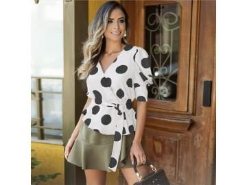Blusa Vintage Bolinhas - Branco