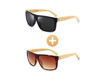 Combo com 2 Óculos Polarizado com Hastes em Bambu Preto e Marrom