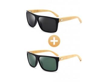 Combo com 2 Óculos Polarizado com Hastes em Bambu Preto Verde