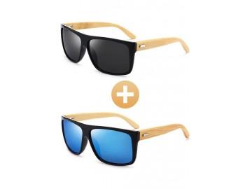 Combo com 2 Óculos Polarizado com Hastes em Bambu Preto e Azul